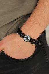 Mavi Metal Üzerine Siyah Osmanlı Tuğra Figürlü Siyah Renk Çift Sı