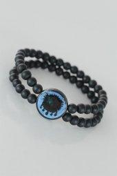 Mavi Metal Üzerine Osmanlı Arma Figürlü Siyah Renk Çift Sıra Doğa