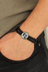 Gri Metal Atatürk Portresi Tasarımlı Siyah Renk Mat Oniks Doğal T