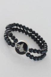 Siyah Metal Üzerine Silver Osmanlı Tuğra Figürlü Siyah Renk Çift