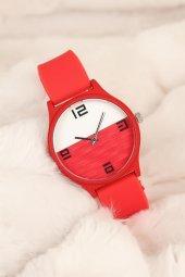 Kırmızı Renk Silikon Bayan Saat