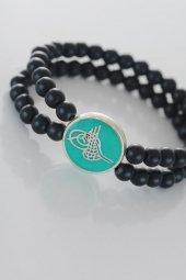 Yeşil Metal Üzerine Silver Osmanlı Tuğra Figürlü Siyah Renk Çift -2