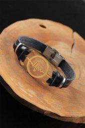 Gold Renk Metal Nabız Tasarım Siyah Renk Deri Erkek Bileklik