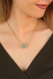 Gold Renk Zincirli Yeni Sezon Mavi Taşlı Bayan Kolye