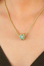 Gold Renk Zincirli Yeni Sezon Mavi Taşlı Bayan Kolye-2