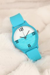 Mavi Renkli Silikon Bayan Saat