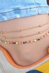 Renkli Taşlı Çoklu Zincir Gold Renk Halhal-2