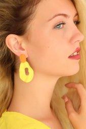 Sarı Renkli Bayan Küpe