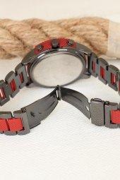 Kırmızı Silikonlu Füme Metal Kordonlu Spor Kasa Erkek Saati-2