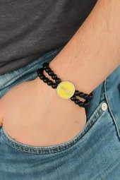 Sarı Renk Metal Atatürk İmza Tasarımlı Siyah Renk Mat Oniks Doğal