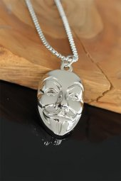 Vandetta Tasarım Silver Renk Zincirli Erkek Kolye