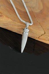 Kurşun Tasarım Silver Renk Zincirli Erkek Kolye