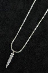 Kurşun Tasarım Silver Renk Zincirli Erkek Kolye-2