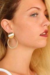 Yuvarlak Gold Renk Zirkon Taşlı Bayan Küpe