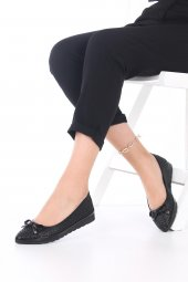 Pia Kadın Günlük Ayakkabı - Babet, Siyah, Platin, Fiyonk Detaylı-5