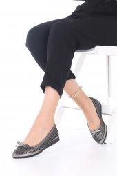 Pia Kadın Günlük Ayakkabı - Babet, Siyah, Platin, Fiyonk Detaylı-7