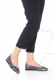 Pia Kadın Günlük Ayakkabı - Babet, Siyah, Platin, Fiyonk Detaylı-8