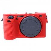 Sony A6500 İçin Silikon Koruma Kılıfı Kırmızı...