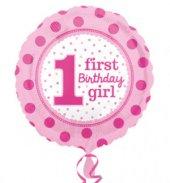 Folyo Balon 1 First Bırthday Gırl 43 Cm Anagram...