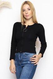önü Fermuarlı Bluz Siyah 2965.316.
