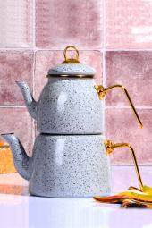 Granit Emaye Çaydanlık Takımı Gri