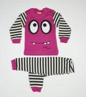 Kız Erkek Bebek Çizgili Pijama Takımı 1 3 Yaş Pembe C70840 14