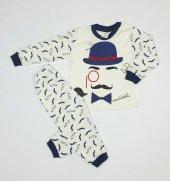 Erkek Bebek Şapka Modelli Pijama Takımı 1 3 Yaş Lacivert C70840 15