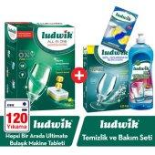 Ludwik Hepsi Bir Arada Bulaşık Makine Tableti 120 Adet + Ludwik Bulaşık Makine Temizlik Ve Bakım Seti (4lü Set)