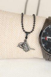 Osmanlı Tuğralı kolye Bileklik Saat Kombin Set Erkek Saat Erkek Kol Saati-2