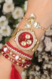 Taşlı Kasa Kırmızı Kadran Saat Bileklik Kombin Şık Saat Hediye Kadın Saat
