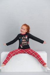 Minnie Mouse Lisanslı Ekose Siyah Kız Çocuk Pijama Takımı