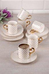 Acar Kahve Fincan Takımı Porselen 6 Kişilik Krem