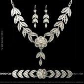 Midyat Gümüş Telkari Yaprak Motiflli Gerdanlık Set