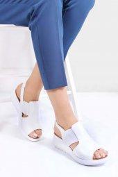 Tarçın Hakiki Deri Günlük Kadın Dolgu Sandalet Ayakkabı Trc66 9006