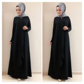 9013 K20 Siyah Renk Broşlu Bayan Elbise