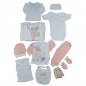 Kız Bebek Pullu Bebek İşlemeli Hastane Çıkış Seti Pembe C72314