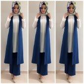 Bayan Yelek Pantolon Takım K10 İndigo Mavi Renk