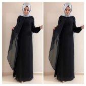 9013a K10 Siyah Renk Broşlu Şifon Bayan Elbise