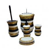 Zebra Desenli Seramik Banyo Takımı Krem 5 Parça