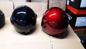 Yarım Motosiklet Kask Düz Beyaz Camlı Parlak Kırmızı L Beden