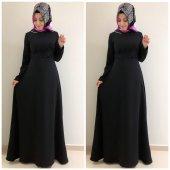 9005 Dantel Detay Elbise K10 Siyah Rengi