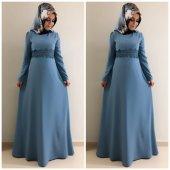 9005dantel Detay Elbise K15 İndigo Rengi