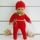 Kadife Çilek Bereli Kız Bebek Tulum