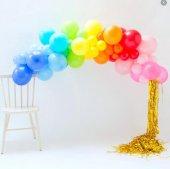 Renkli Balon Konsepti Balon Zinciri Gökkuşağı Tema
