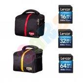 Canon Nikon Omuz Çantası + Lexar 16gb,32gb,64gb 300x 45mb S Sd