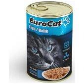 Eurocat Kedi Konservesi Balıklı 415 gr 10 Adet