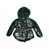 Kız Bebek Simli Düğmeli Parlak Modelli Kaban 2-5 Yaş Siyah - C73779