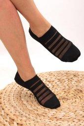 Piaff Kadın Şeritli Babet Çorap Pf2010