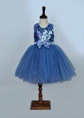Prenses Model Kız Çocuk Abiye İndigo