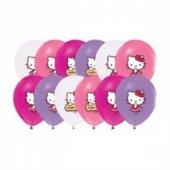 24 Adet Hello Kitty Baskılı Karışık Balon, Helyumla Uçan